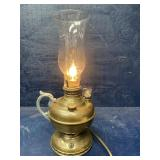 ANTIQUE MILLER FINGER OIL LAMP ELECTRIFIED