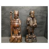 PR OF ORIENTAL WOOD CARVED BUDDAH FIGURES 2