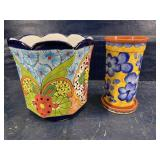 2 pcs OF DECORATED POTTERY