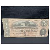 1864 RICHMOND CIVIL WAR CONFEDERATE $5 NOTE