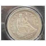 1857 SEATED SILVER QUARTER DOLLAR
