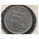 1870 AU-53 3 CENT COIN