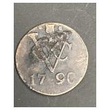 RARE 1790 EAST INDIES 1 DUIT COIN