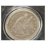 1857 SEATED LIBERTY SILVER QUARTER DOLLAR
