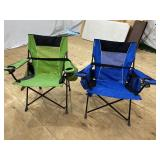 GREEN AND BLUE FOLING CHAIRS