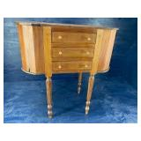 EARLY MAHOGANY INLAID SEWING STAND