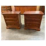 OVERSIZED PAIR OF CHERRY 3 DRAWER STANDS