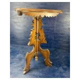 CARVED WALNUT CANDLE STAND