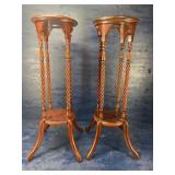 PAIR OF TWISTED COLUMN MAHOGANY FERN STANDS