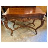 19TH CENTURY CARVED FLIP TOP MAHOGANY GAME TABLE