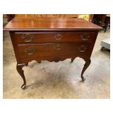 CHERRY SHELL CARVED QUEEN ANNE 2 DRAWER LOWBOY