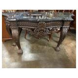 LARGE MARBLE TOP CARVED CONSOLE TABLE