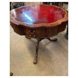 LEATHER TOP LARGE CARVED DRUM TABLE