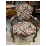 Carved MAHOGANY FRENCH OPEN ARM CHAIR