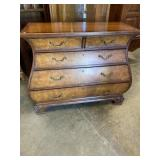 ETHAN ALLEN BURLED WOOD KETTLE FORM CHEST