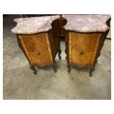 PR OF SATINWOOD FRENCH MARBLE TOP COMMODES