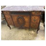 FRENCH SATINWOOD MARBLE TOP CHEST