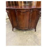 MAHOGANY FRENCH CARVED1 DOOR CABINET, SERPENTINE