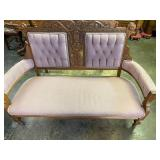 WALNUT VICTORIAN CARVED SETTEE