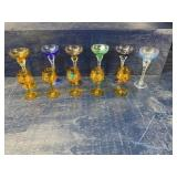 11 PIECE LOT OF COLORED GLASS STEMS