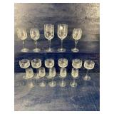 16 PIECES OF MATCHING ETCHED STEMS