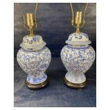 PR OF BLUE AND WHITE GINGER JAR LAMPS X2