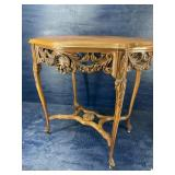 Walnut FRENCH CARVED CENTER TABLE