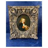 PAINTING ON BOARD , ORNATE FRAME