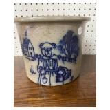 BEAUMONT POTTERY BLUE MARKED CROCK