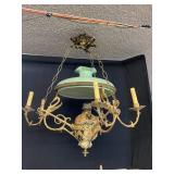 VICTORIAN BRASS AND PORCELAIN CHANDELIER
