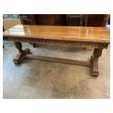 WALNUT HEAVY CARVED LIBRARY TABLE