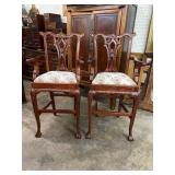PR OF MAHOGANY CARVED CHIPPENDALE BARSTOOLS