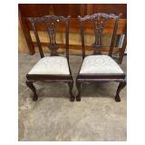PAIR OF CHIPPENDALE BALL AND CLAW FOOT CHAIRS