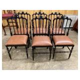 SET OF 6 FAUX BAMBOO SOLID CHAIRS