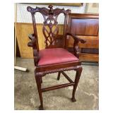 MAHOGANY EAGLE CARVED CHIPPENDALE BARSTOOL