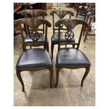 FOUR FRENCH PROVINCIAL LEATHER BOTTOM CHAIRS