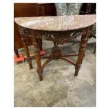 HEAVY CARVED HALF ROUND MARBLE TOP TABLE