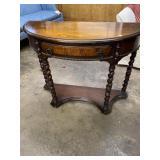 WALNUT CARVED BARLEY TWIST CONSOLE TABLE