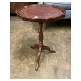 MAHOGANY LEATHER TOP CANDLE STAND BY BOMBAY