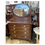 19TH CENT. MAHOGANY INLAID CHEST WITH MIRROR