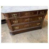 WALNUT MARBLE TOP CHEST