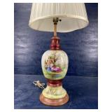 31 in PORCELAIN HAND PAINTED LAMP