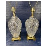 PR OF LARGE CRYSTAL LAMPS