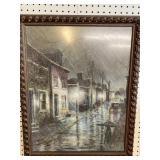 STORMY STREET SCENE WATERCOLOR BY LOUIS THOMPSON