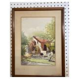 WATERMILL HOUSE WATERCOLOR