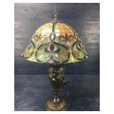 TIFFANY STYLE PULL CHAIN LAMP WITH BRONZE BASE: