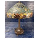 TIFFANY STYLE LAMP, METAL FOOTED BASE