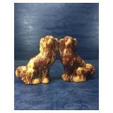 PAIR OF MAJOLICA TYPE STAFFORDSHIRE DOGS: NICE