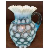 AQUA BLUE COIN DOT GLASS PITCHER