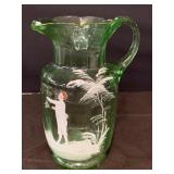 MARY GREGGORY GREEN GLASS PITCHER